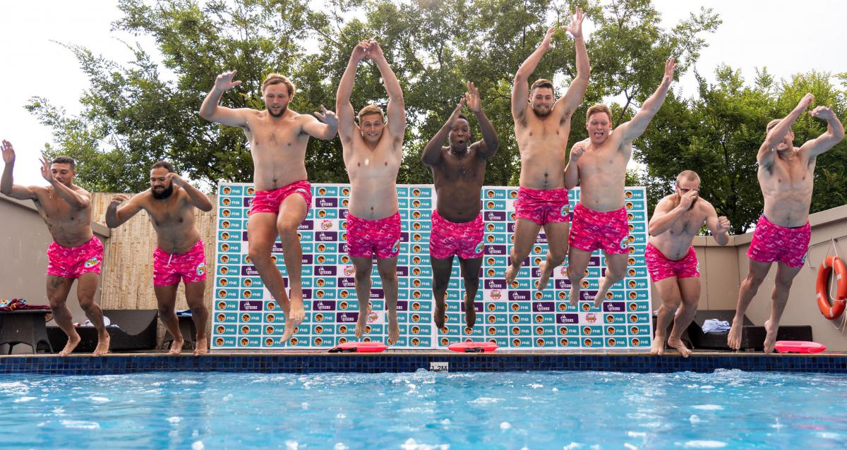 Varsity Cup captains taking a plung for the Pink Shorts campaign